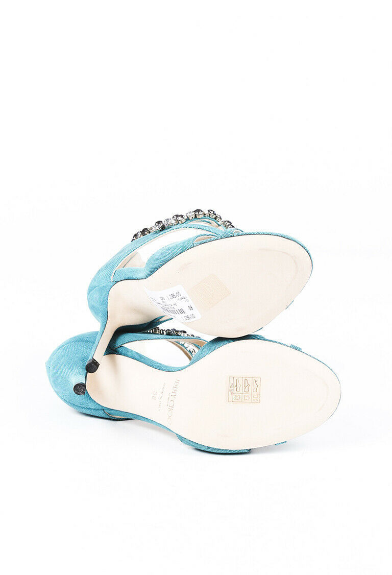 Jimmy Choo Faiza Crystal T-Strap Sandals SZ 38