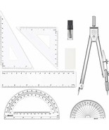 7 Pieces Math Geometry Tools Drawing Compasses and Ruler Set Protractor ... - $7.19