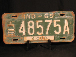 1965 TRUCK License Plate YOM Indiana 48575A TRUCK 4000 Green White - $28.45