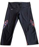 Under Armour Womens Black Hot Pink Blue Heat Gear Compression Crop Yoga ... - $29.03