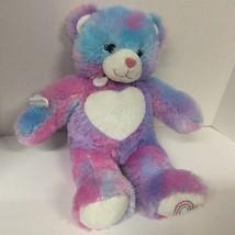 "Build A Bear 17"" Purple Pink and Blue Teddy Bear Stuffed Animal Plush  - $14.85"