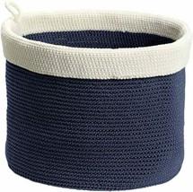 New Interdesign Ellis Hand Knit Storage Bin Round Linen Organizer Navy & Ivory - $37.39