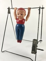 Vintage 1930's Marx Mechanical Tin & Celluloid Gymnast Acrobat Toy, Working - $110.57