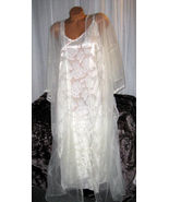 Ivory Clipped Chiffon Nylon Robe Gown Set 4X Lace Chiffon 2 piece Lingerie - $37.35