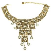 VINTAGE GOLDETTE RUNWAY GOLD GILT FILIGREE LINK DANGLE CRYSTAL NECKLACE ... - $145.79