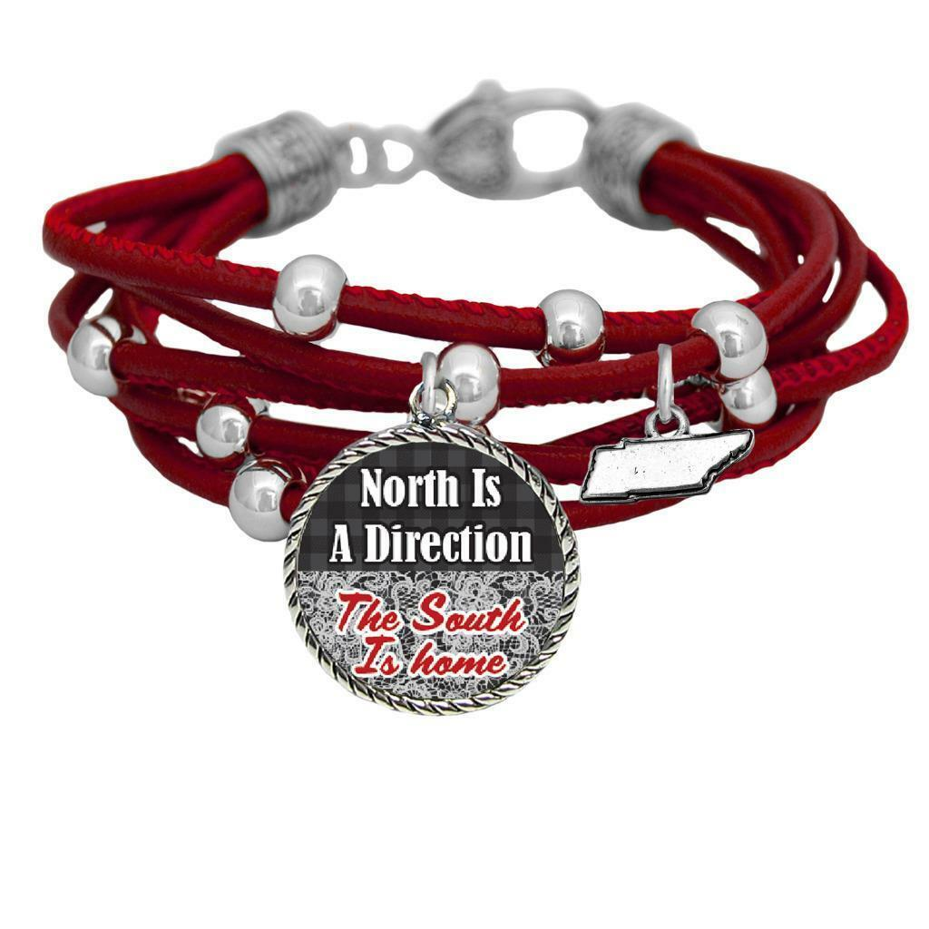 Primary image for Tennessee North is Direction South is Home Red Leather Bracelet Southern Jewelry