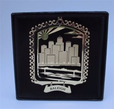 Raleigh Brass Ornament North Carolina Souvenir Gift Black Leatherette Gi... - $13.95