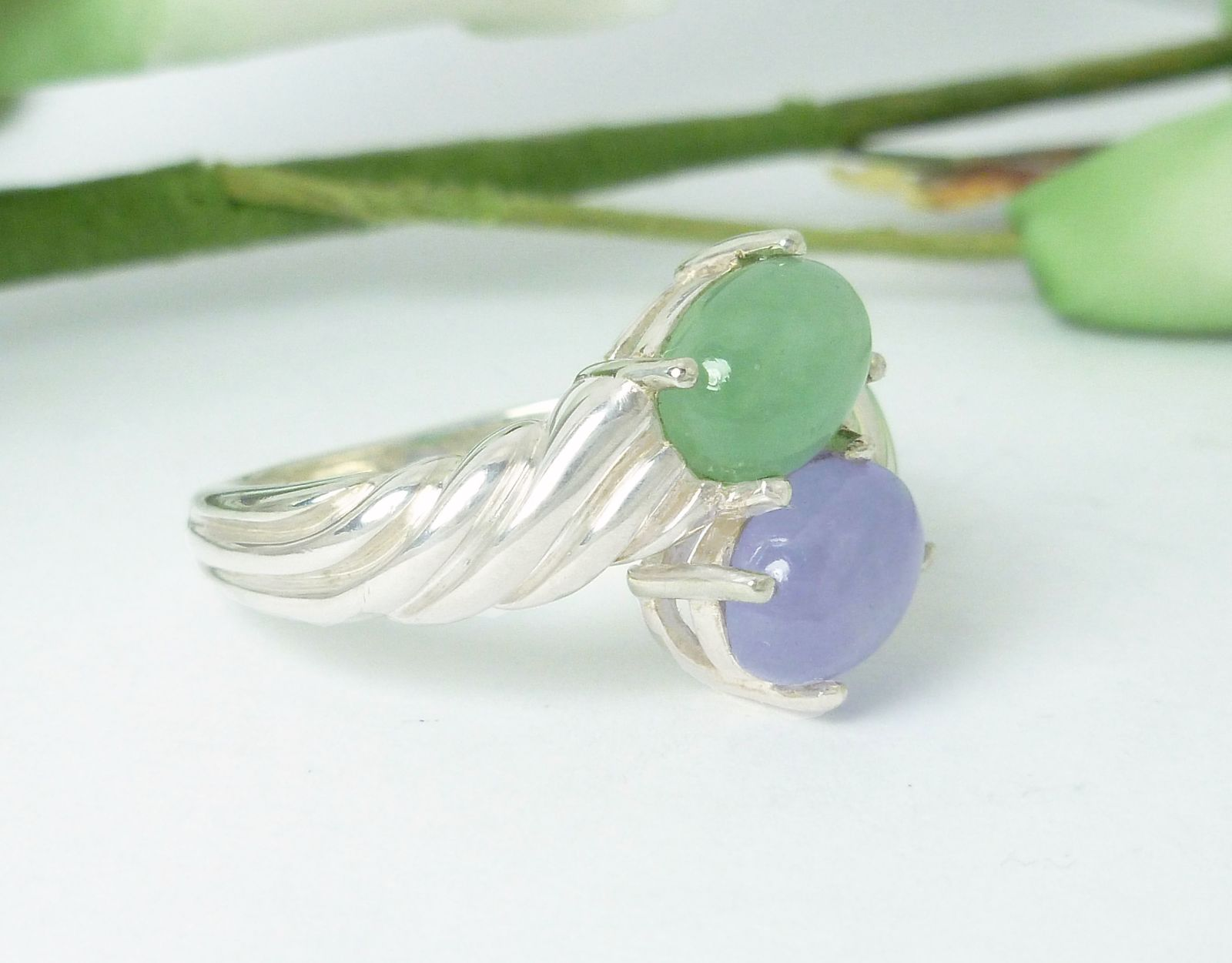 Green and Lavender Jade Ribbed Bypass Sterling Ring Size 7