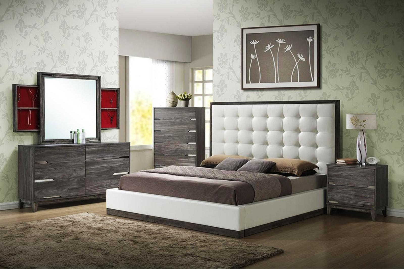 ideas for bedrooms myco furniture br560 k brently rustic gray white vinyl 11825