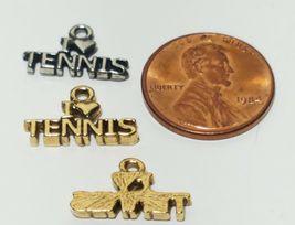 I HEART TENNIS FINE PEWTER PENDANT CHARM 16mm x 10mm x 2mm image 3