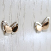 Gold Earrings White and Pink 750 18k Stud, Butterflies, Length 0.7 cm image 2