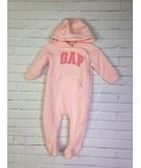 Gap Baby Girls 3-6 Months Fleece Lined Footed Logo Bear Pink One Piece Zip - $17.41