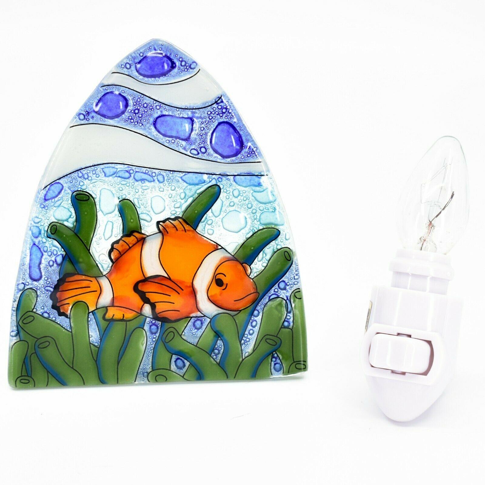 Fused Art Glass Clown Fish Ocean Marine Nightlight Night Light Handmade Ecuador