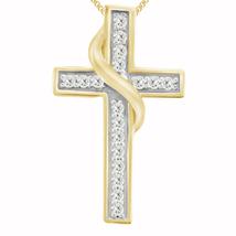 "14K Yellow Gold Over 0.60 Ct Diamond Religious Cross Style Pendant W/18""... - $109.99"