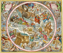 1660 Andreas Cellarius Christian Celestial Map Chart Constellation Print Poster - $13.00+