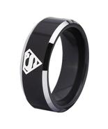 Superman Movie Logo Tungsten Carbide Comfort Fit Ring Black - $34.99+