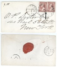 """1883 Boston MA NYC NY Cover 2 Scott #210, 1 With A GASH Thru """"S"""" in Word... - $18.60"""