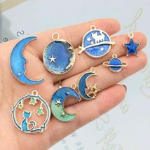 Classic Vintage Charms Blue Moon Star Planet Enamel Pendant For Jewlery Making - $4.72