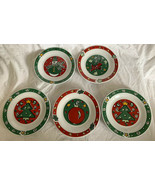 SET OF 5 GIBSON FESTIVE Bright Color Holiday CHRISTMAS DESSERT SNACK PLA... - $25.73