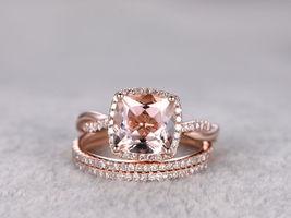 3.50 Ct Cushion Morganite Wedding Set Diamond Trio Ring 14k Rose Gold Over - $119.99