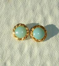 Beautiful Green & Gold Liz Claiborne Clip on Earrings - $0.00
