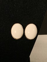 Coro Gold Tone Magic Magnetic White Cabochon Earrings (1001) - $7.50
