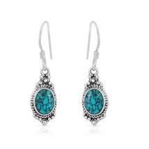 Natural Turquoise Earring, 925 Silver Earring, Oval Shape, Dangle Earring - $14.99