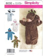 Simplicity Pattern 8030 Baby Infant Buntings and Hats Szs XXS - S Uncut - $6.99