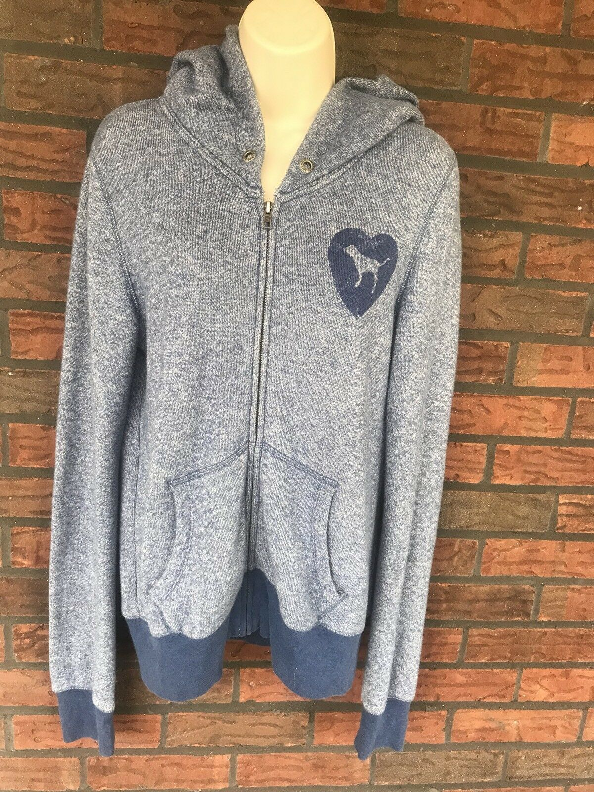 Victoria's Secret Medium Full Zip Hoodie Love Pink 86 Pockets Hood Soft Blue