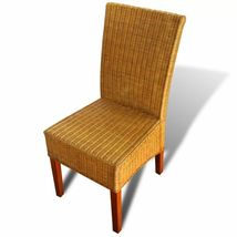 vidaXL 2/4/6x Dining Chair Rattan Brown Handwoven Kitchen Furniture Home Seat image 4