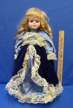 Porcelain Doll w/ Stand Blue With Lace Victorian Dress Blonde Hair Blue ... - $12.22