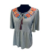 NWT THML Anthropologie SMALL PEPLUM EMBROIDERED TOP BLOUSE 3/4 Sleeves - $37.82