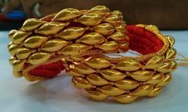 VINTAGE TRADITIONAL HANDMADE 22K GOLD JEWELRY BEADS BRACELET BANGLE PAIR... - $3,008.66