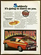 1976 Datsun B-210 Hatchback PRINT AD Datsun Saves - $10.89