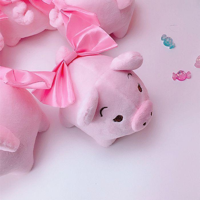 Bowknot Pink Plush Pig Toy Stuffed Lovely Mini Piggy 2019 Chinese Zodiac Symbol
