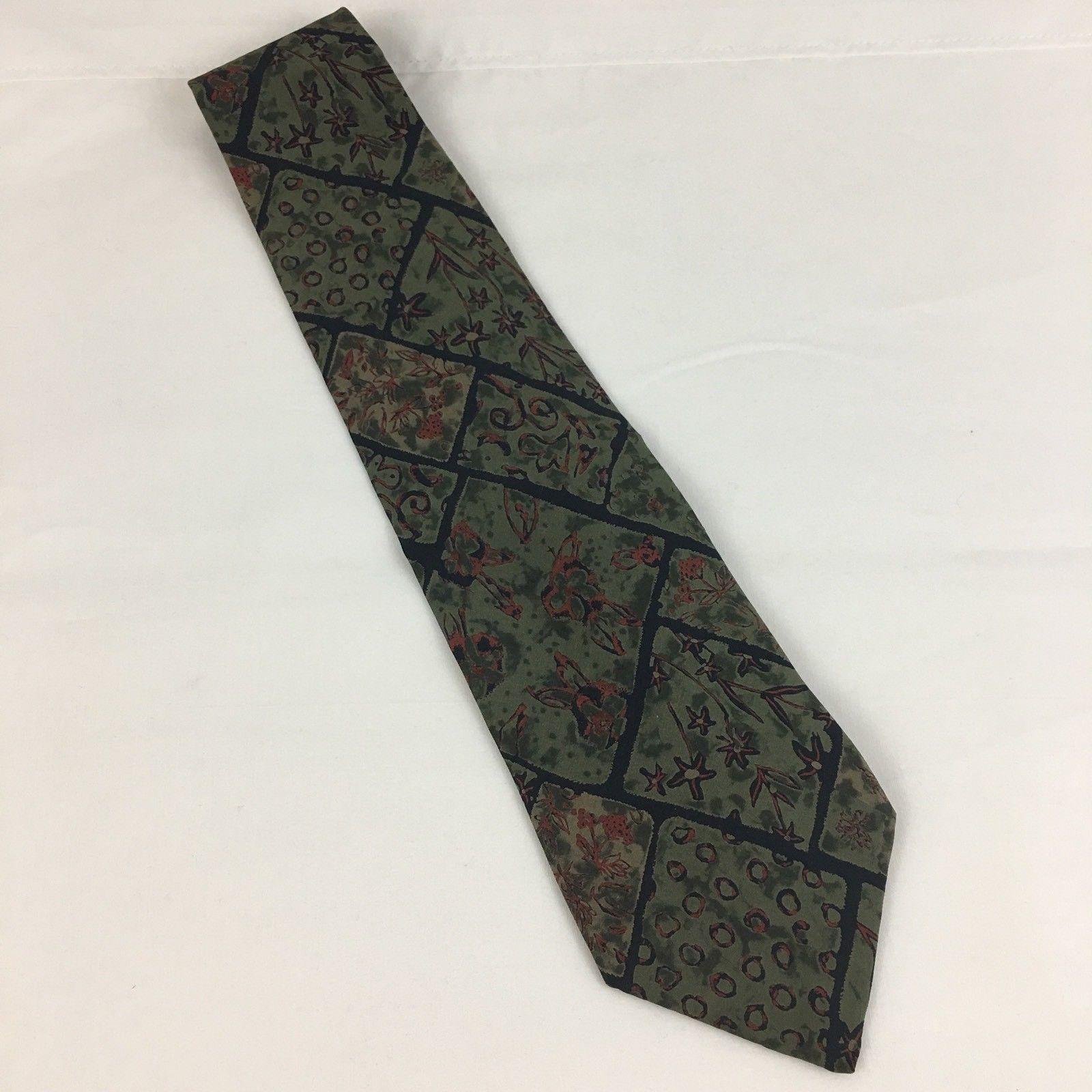 Geoffrey Beene Silk Tie Green Brown Floral 4 Inch Wide