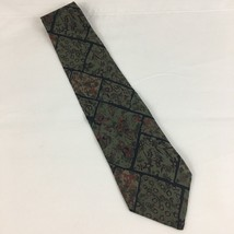 Geoffrey Beene Silk Tie Green Brown Floral 4 Inch Wide - $9.50