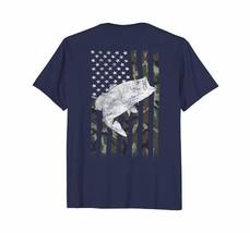 Men Camouflage Flag Bass Fishing Angler Shirt (on Back) - $19.99+