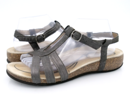 Abeo Womens 10 Gray Bio System Adjustable Strap Buckle Leather Strappy Sandals  - $24.99