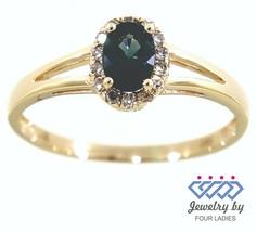 Zaffiro Blu Gemma 14K Oro Giallo 0.55CT Naturale Halo Diamante Ovale Anello - $830.62