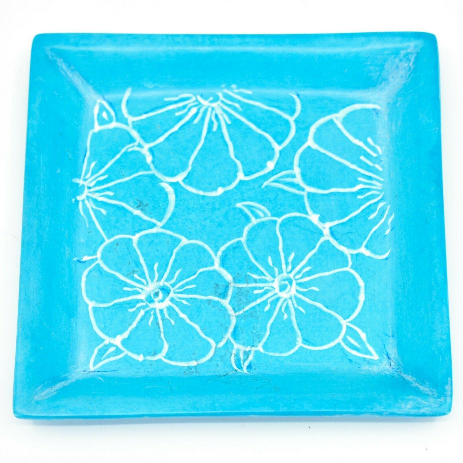 Tabaka Chigware Hand Carved Kisii Soapstone Sky Blue Floral Trinket Dish Kenya