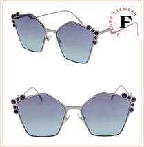 FENDI CAN EYE 0261 Ruthenium Blue Stud Geometric Metal Flat Sunglasses F... - $197.01