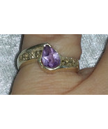 Vintage 9.25 Purple  Marcasite Sterling silver ring  Downton Abbey size 6 - $26.00