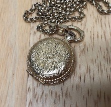 Vintage Caravelle Swiss Made Hand-Winding Necklace Pendant Pocket Watch ... - $18.55