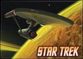 Star Trek:The Original Series Enterprise on Yellow Background Magnet, NEW UNUSED - $3.95