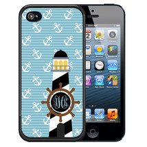 Monogrammed Rubber Case For I Phone 5S 5C Se 6 6S 7 Plus Light House Nautical Blu - $12.98