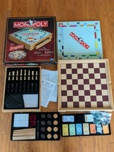 Monopoly Scrabble + 4 Classic Games Domino Chess Checkers Wood Cabinet 2... - $102.84