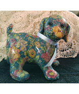 "Joan Baker Designs - Porcelain Patchworks Puppy - ""Blue Spring"" Pattern - $40.00"
