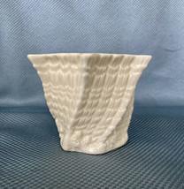 "Belleek 3 1/2"" Hexagon Cache Pot Vase Twisted Shell - Yellow Inside - Green Mark - $32.73"
