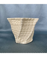 "Belleek 3 1/2"" Hexagon Cache Pot Vase Twisted Shell - Yellow Inside - Gr... - $32.73"